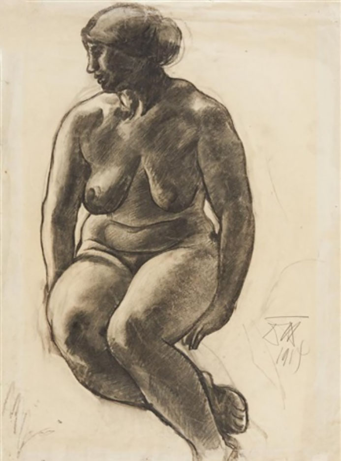 "Отто Дикс (Otto Dix) Drawing ""Sitzender Akt"""