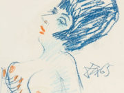 "Отто Дикс (Otto Dix) Drawing ""Female semi-nude facing left"""