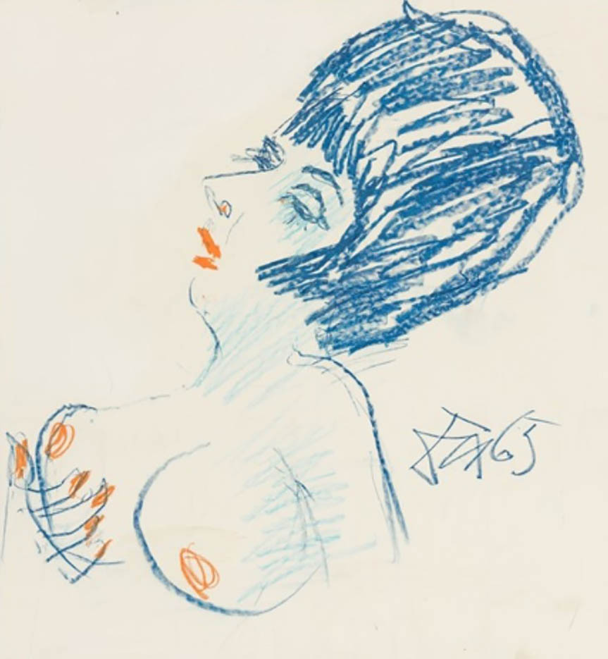 "Отто Дикс (Otto Dix) Drawing ""Female semi-nude facing left"""