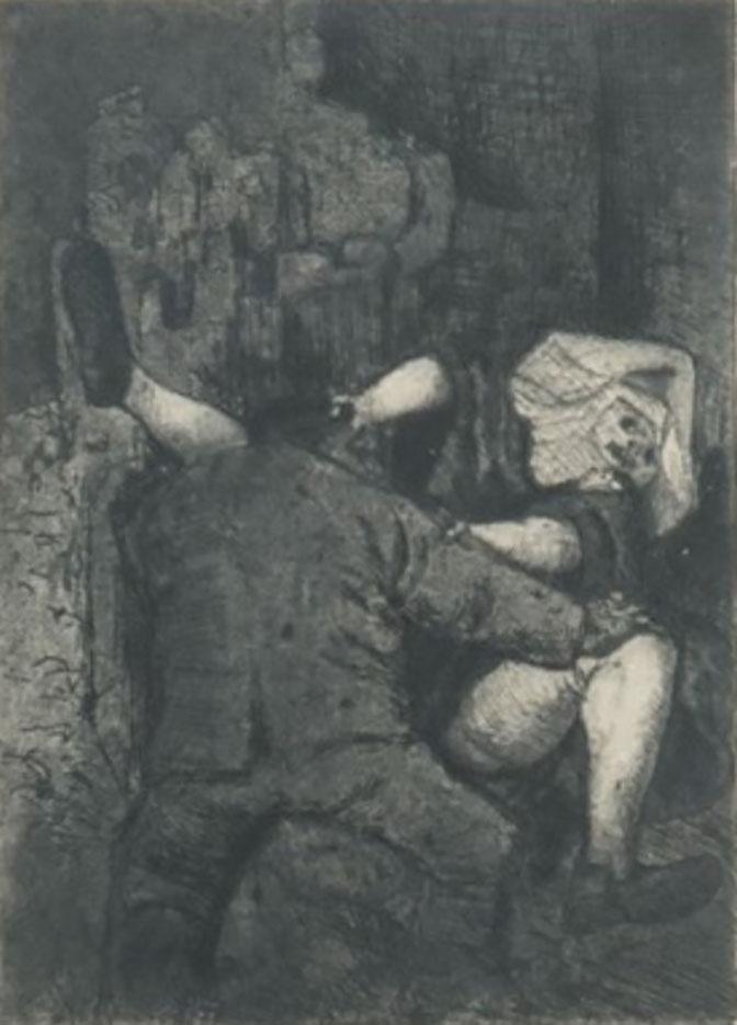 "Отто Дикс (Otto Dix) Drawing ""Soldat et nonne"""