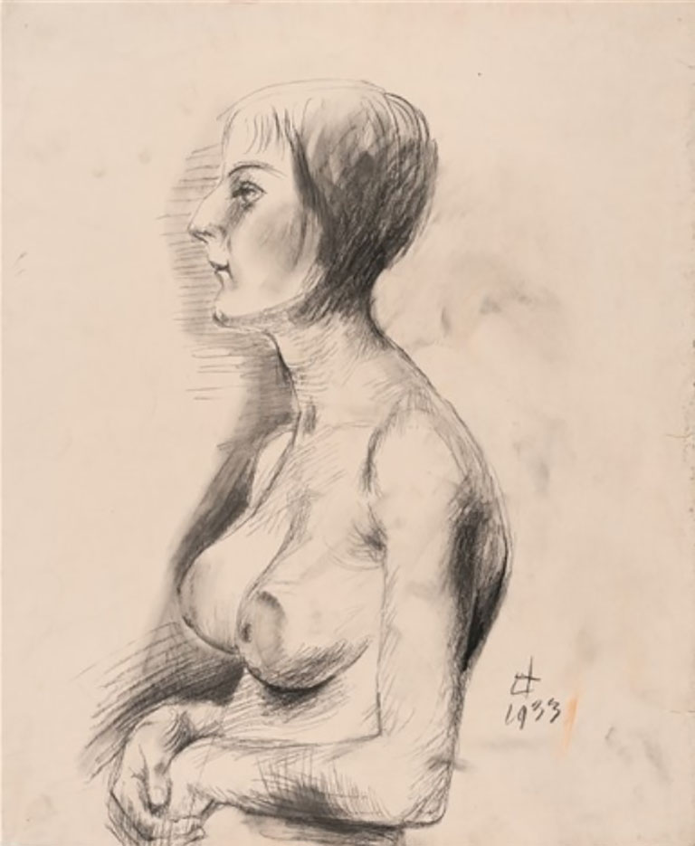 "Отто Дикс (Otto Dix) Drawing ""Female nude looking left"""