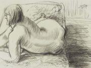 "Отто Дикс (Otto Dix) Drawing ""Akt auf grünem Papier"""