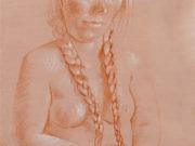 """Отто Дикс (Otto Dix) Drawing """"Sitzender Akt beim Zöpfeflechten (Sitting nude braiding her hair)"""""""