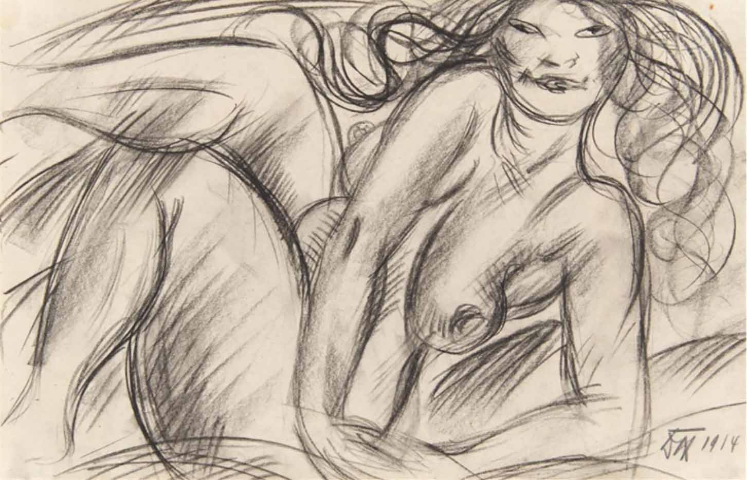 "Отто Дикс (Otto Dix) Drawing ""Ruhende"""