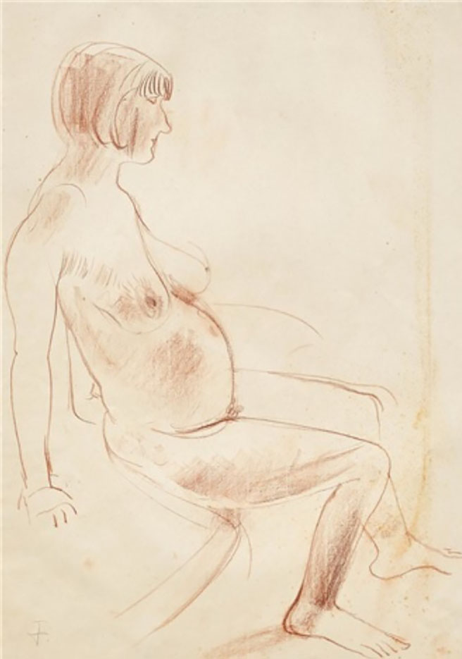 "Отто Дикс (Otto Dix) Drawing ""Pregnant women sitting"""