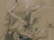 "Отто Дикс (Otto Dix) Drawing ""Liegender Frauenakt (Reclining Female Nude)"""