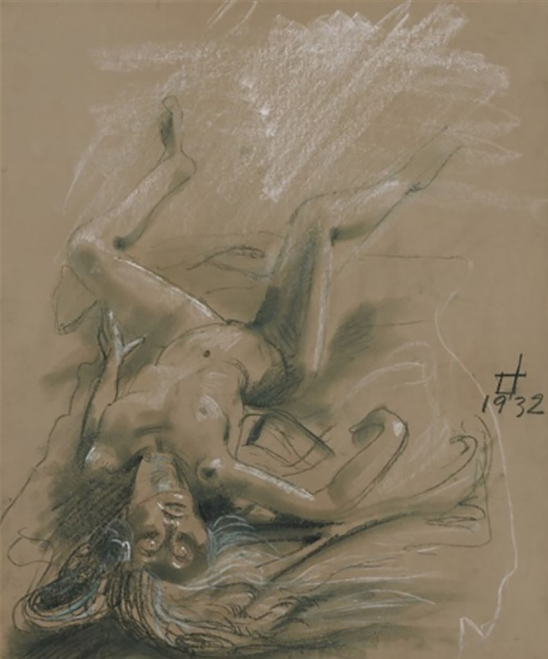 "Отто Дикс (Otto Dix) Drawing ""Liegender Frauenakt (Reclining Female Nude)"""
