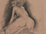 """Отто Дикс (Otto Dix) Drawing """"Hockender weiblicher Akt"""""""