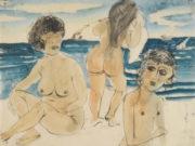 "Отто Дикс (Otto Dix) Drawing ""Drei mädchenakte am strand (Three nudes on the beach)"""