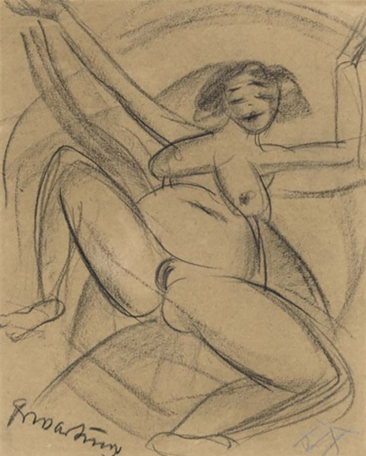 "Отто Дикс (Otto Dix) Drawing ""Erwartung I"""