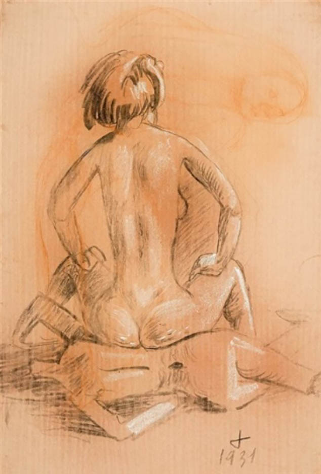 """Отто Дикс (Otto Dix) Drawing """"Frau, auf Gliederpuppe sitzend"""""""