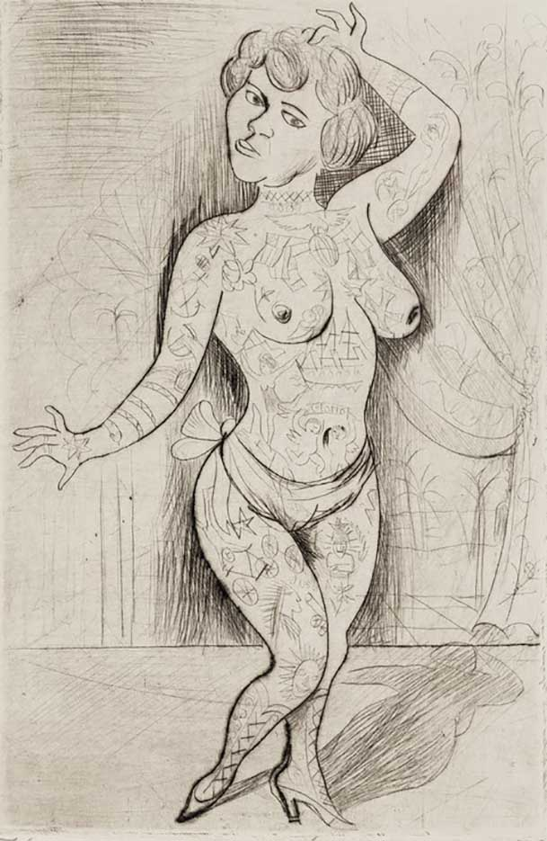 "Отто Дикс (Otto Dix) Drawing ""Maud Arizona (Suleika, The Tattooed wonder)"""