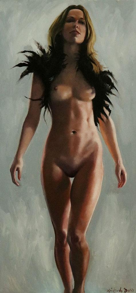 """Кимберли Доу (Kimberly Dow) """"Nude Study with Feathers"""""""