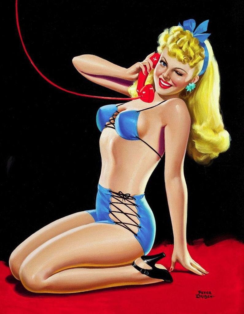 """Питер Дрибен (Peter Driben), """"Pin-up in blue bikini"""""""