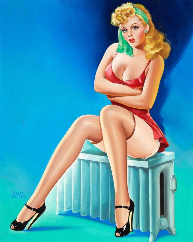 Pinup girl cute sexy babe metal poster