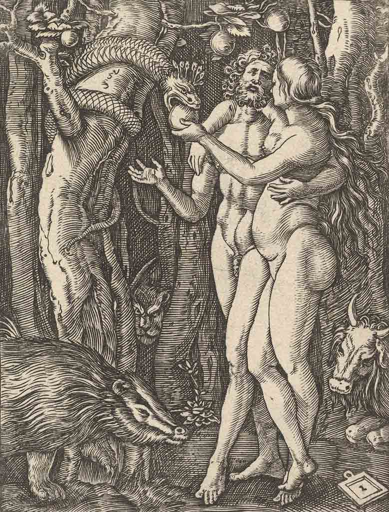 "Альбрехт Дюрер (Albrecht Durer), ""Adam and Eve with apple and serpent (Гравюра)"""