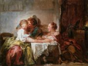 "Жан Оноре Фрагонар (Jean Honore Fragonard), ""Выигранный поцелуй (этюд)"""
