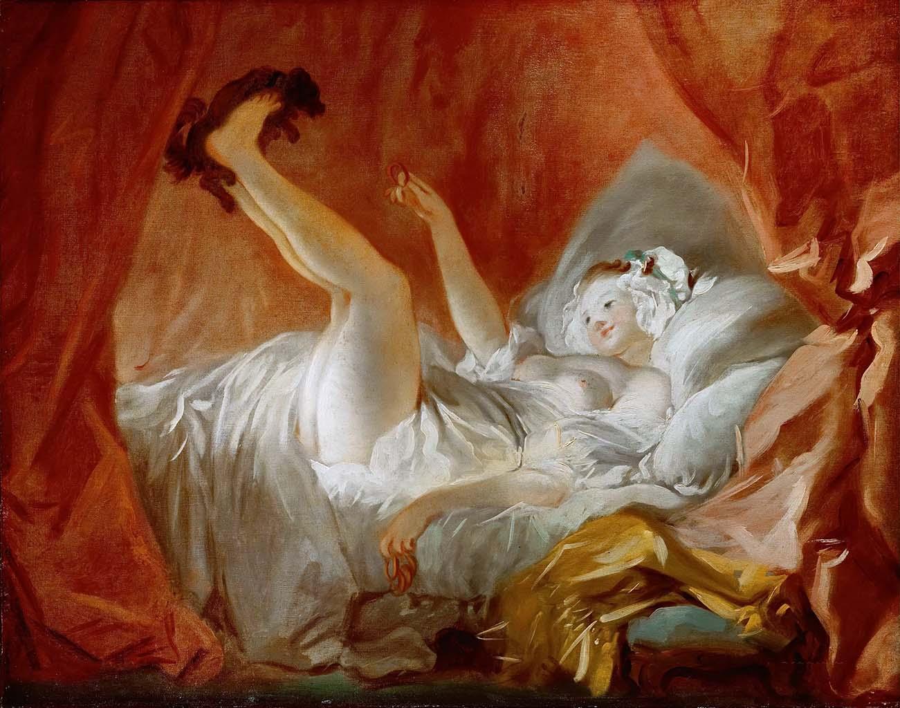 """Жан Оноре Фрагонар (Jean Honore Fragonard), """"Young Woman Playing with a Dog"""""""