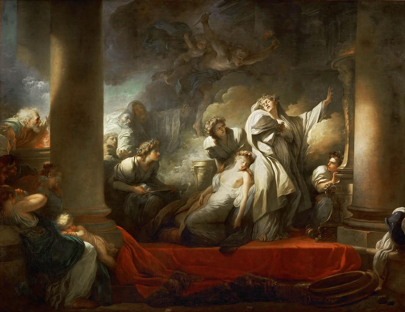 """Жан Оноре Фрагонар (Jean Honore Fragonard), """"The High Priest Coresus Sacrificing Himself to Save Callirhoe"""""""