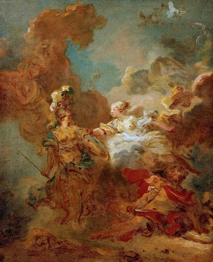 "Жан Оноре Фрагонар (Jean Honore Fragonard), ""Битва между Марсом и Минервой (эскиз)"""
