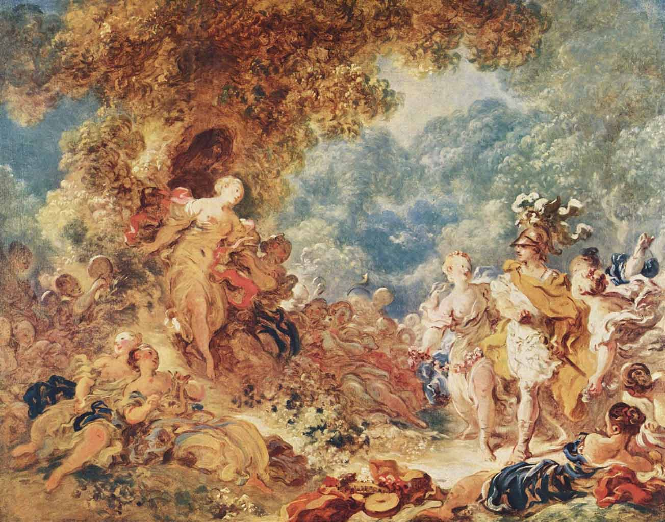 "Жан Оноре Фрагонар (Jean Honore Fragonard), ""Rinaldo in the garden of the palace of Armida"""