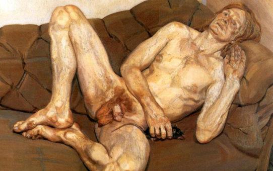 "Люсьен Фрейд (Lucian Freud), ""Обнаженный мужчина с крысой"""