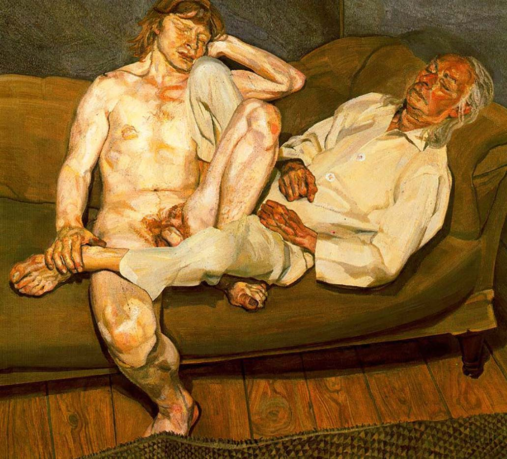 "Люсьен Фрейд (Lucian Freud), ""Обнаженный мужчина с другом"""