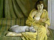 """Люсьен Фрейд (Lucian Freud), """"Девушка с белым псом"""""""