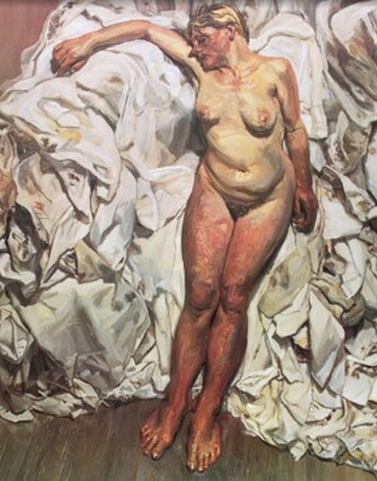 """Люсьен Фрейд (Lucian Freud), """"Стоящая на фоне тряпок"""""""
