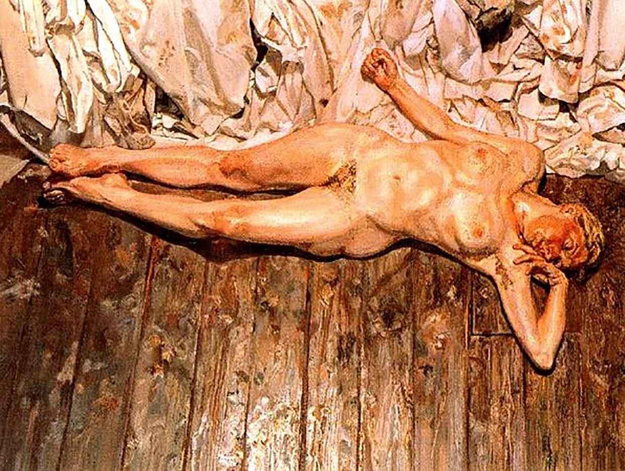 """Люсьен Фрейд (Lucian Freud), """"Лежащая на тряпках"""""""