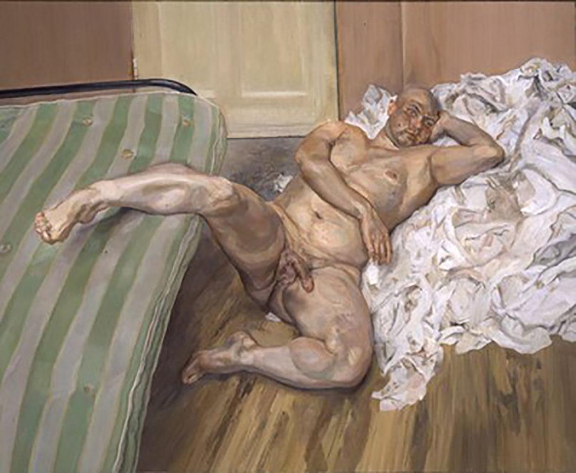 """Люсьен Фрейд (Lucian Freud), """"Мужчина с поднятой ногой"""""""