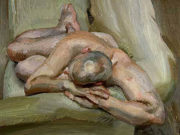 "Люсьен Фрейд (Lucian Freud), ""Leigh on a Green Sofa"""