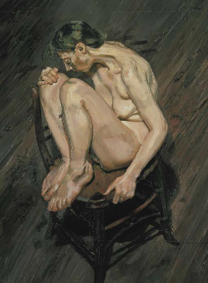 "Люсьен Фрейд (Lucian Freud), ""Обнаженная девушка, взобравшаяся на стул"""