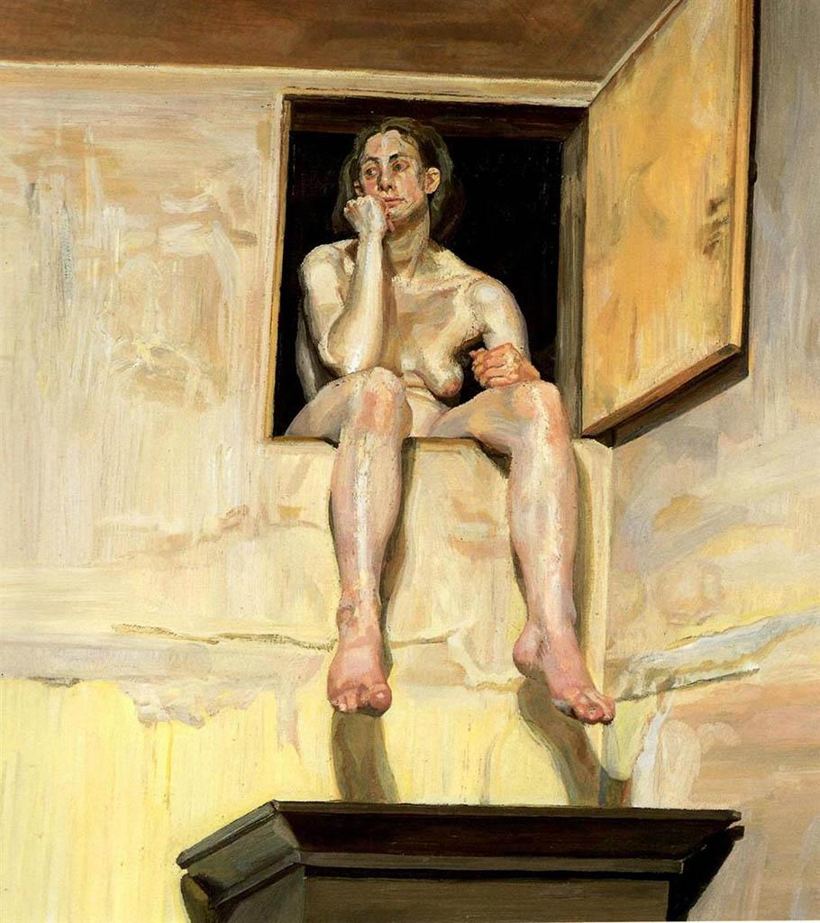 """Люсьен Фрейд (Lucian Freud), """"Девушка, сидящая в дверном проеме мансарды"""""""