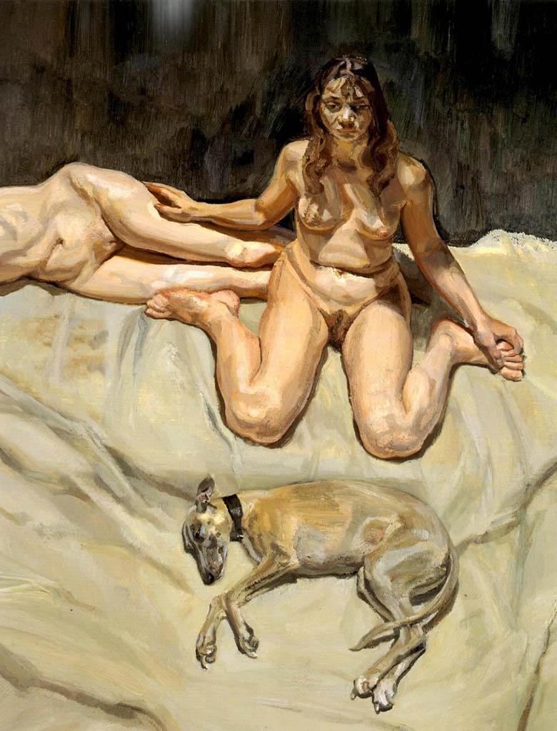 """Люсьен Фрейд (Lucian Freud), """"Плуто и сестры Бэйтман"""""""