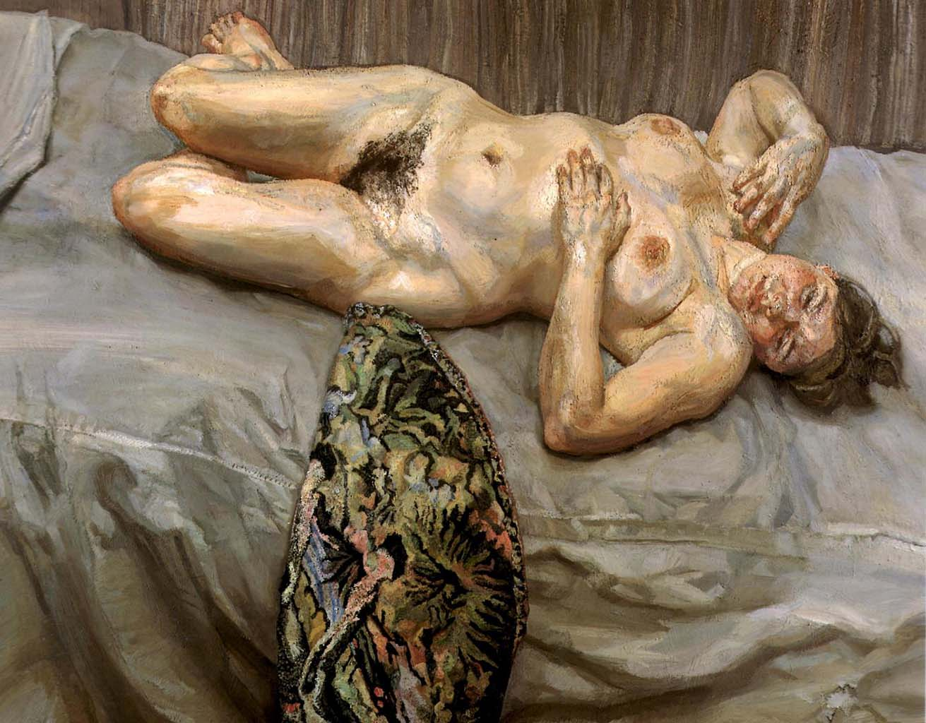 """Люсьен Фрейд (Lucian Freud), """"Portrait on a Grey Cover"""""""