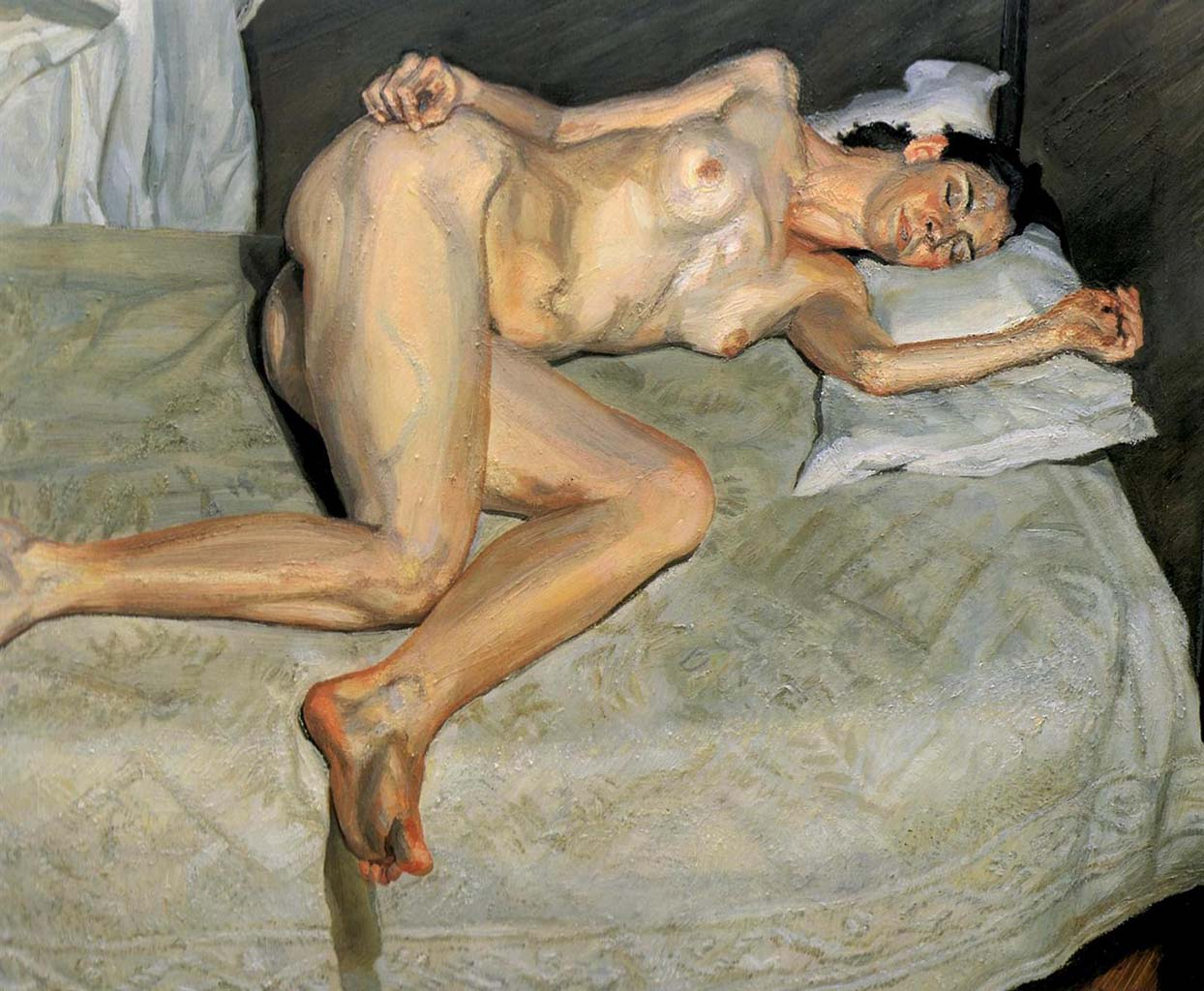 """Люсьен Фрейд (Lucian Freud), """"Портрет на белом покрывале"""""""