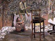 """Люсьен Фрейд (Lucian Freud), """"Художник, удивленный обнаженной обожательницей"""""""