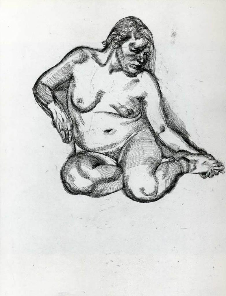 """Люсьен Фрейд (Lucian Freud), """"Голая женщина"""" (Drawing)"""