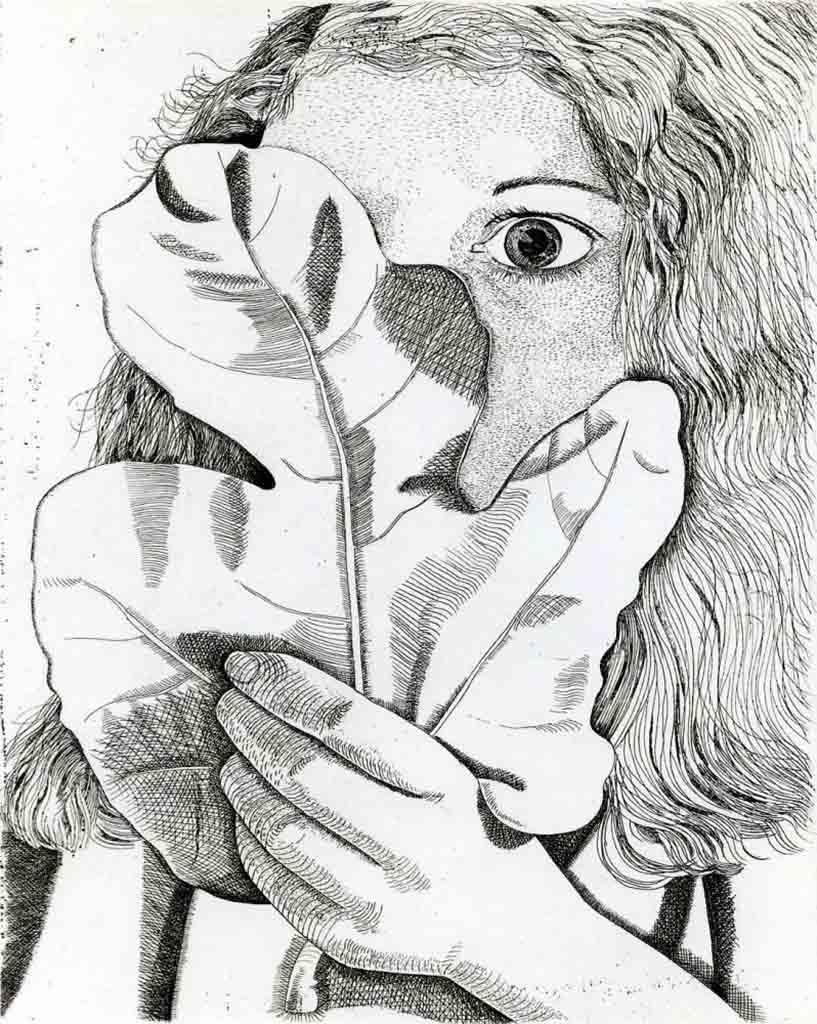 """Люсьен Фрейд (Lucian Freud), """"Девушка с фиговым листком"""" (Drawing)"""