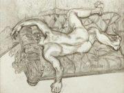 "Люсьен Фрейд (Lucian Freud), ""Обнажённый мужчина на диване"" (Drawing)"