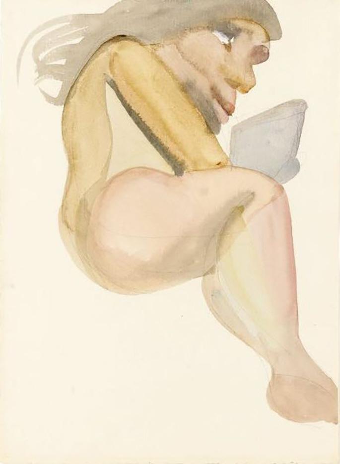 """Люсьен Фрейд (Lucian Freud), """"Молодая женщина во время отдыха"""" (Drawing)"""