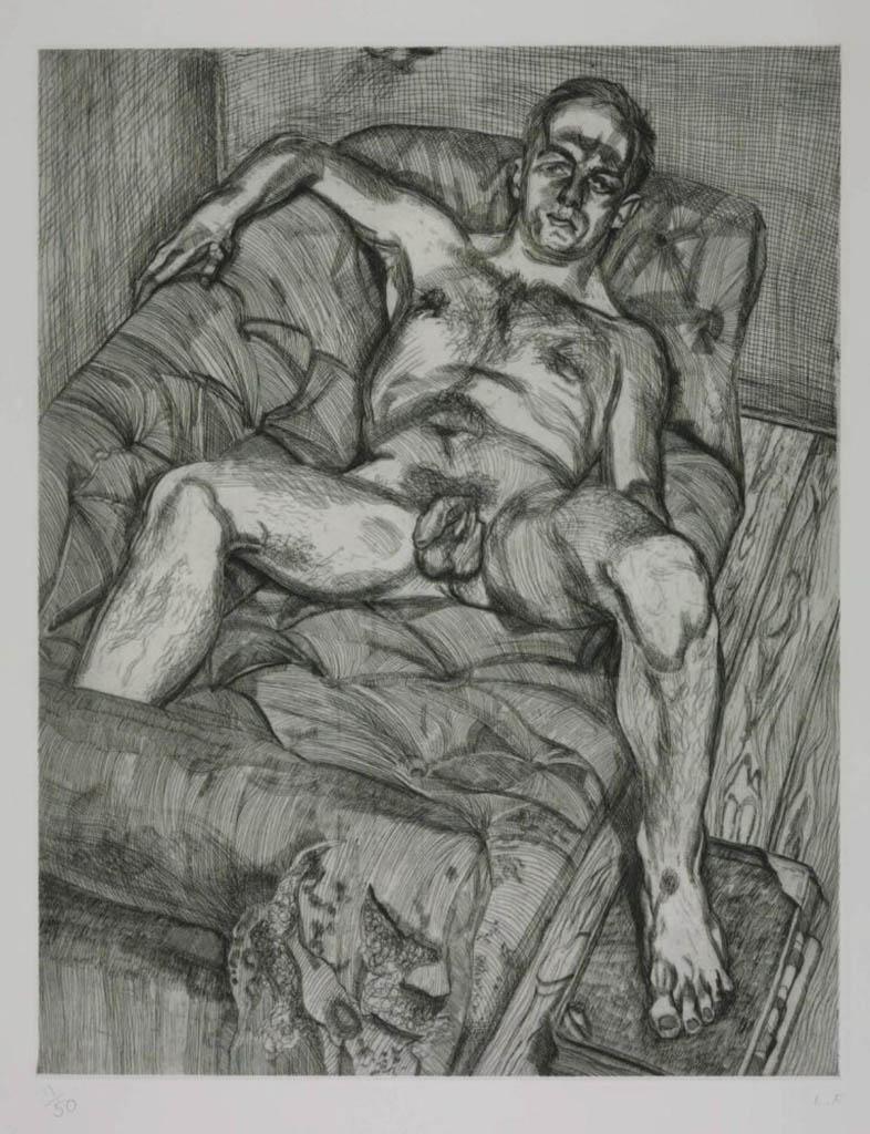 "Люсьен Фрейд (Lucian Freud), ""Позирующий мужчина"" (Drawing)"