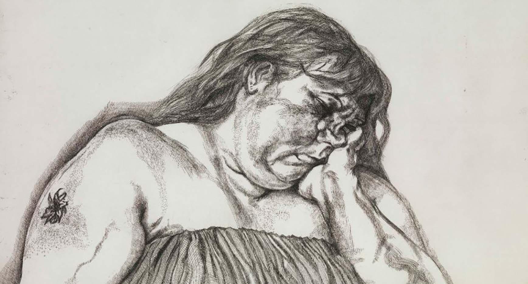 "Люсьен Фрейд (Lucian Freud), ""Женщина с татуировкой на плече"" (Drawing)"