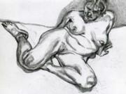 """Люсьен Фрейд (Lucian Freud), """"Женщина без одежды"""" (Drawing)"""
