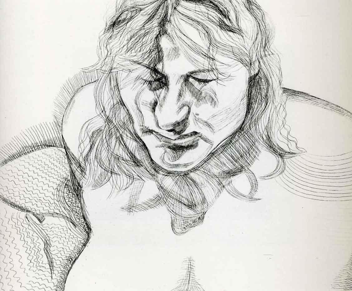 """Люсьен Фрейд (Lucian Freud), """"Закрытые глаза"""" (Drawing)"""