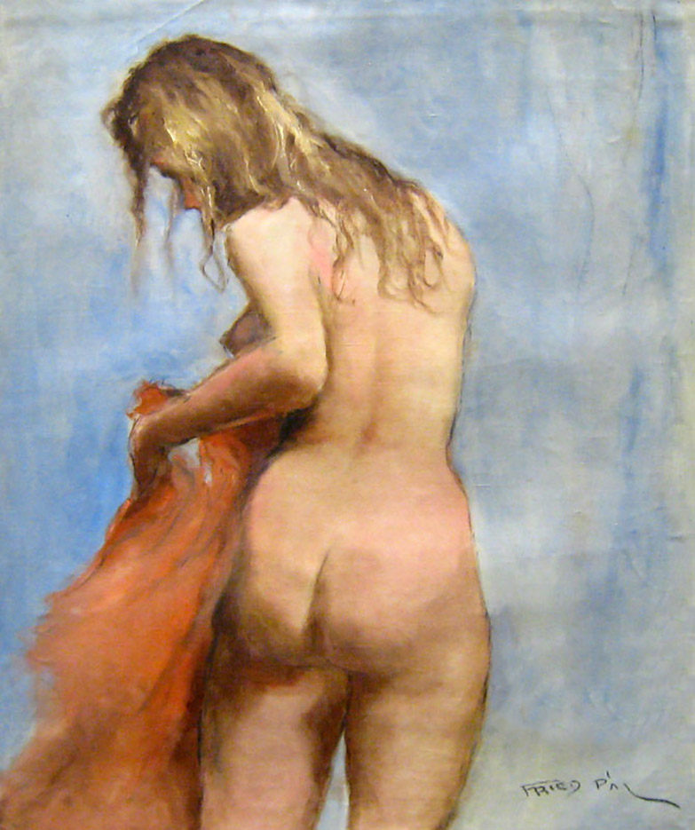"""Пал Фрид (Pal Fried), """"Blond Nude Back Red Scarf"""""""
