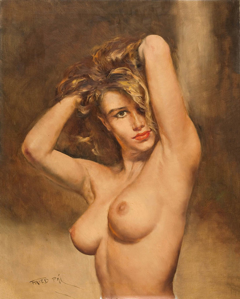 Beautiful naked woman in sad mood stock photo