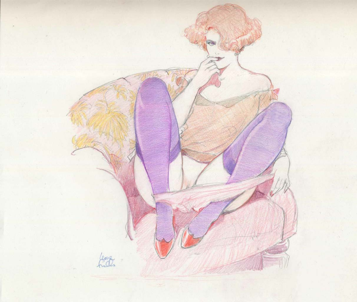 "Леон Фролло (Leone Frollo) ""Mona Street in Purple Stockings"""
