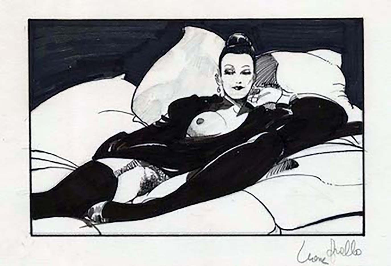 "Леон Фролло (Leone Frollo) ""Black Bed"" (drawing)"